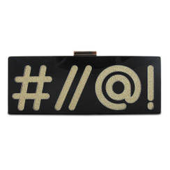 #//@! - Black and Gold Acrylic Olga Berg Clutch
