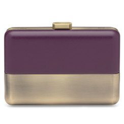 Elin - Aubergine Purple and Brushed Gold Clutch by Olga Berg
