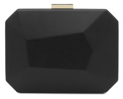 Adele - Large Black Facetted Pod Clutch Handbag by Olga Berg