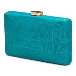 Olga Berg Aqua Blue Sinamay Straw Clutch Bag