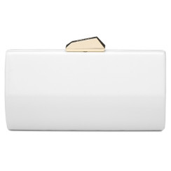 Olga Berg White Patent Clutch Bag