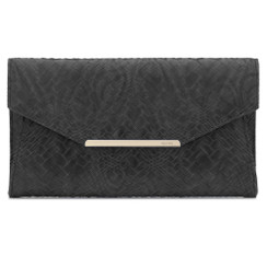 Olga Berg Black Textured Faux Leather Clutch