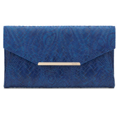Olga Berg Cobalt Blue Textured Leather Clutch Handbag