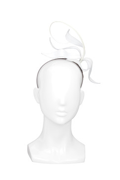 White Leather Lily Headband by Kim Wiebenga
