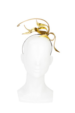 Gold Leather Lily Headband by Kim Wiebenga