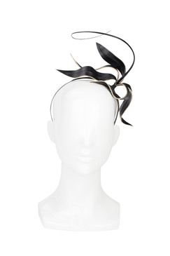 Black Leather Lily Headband by Kim Wiebenga