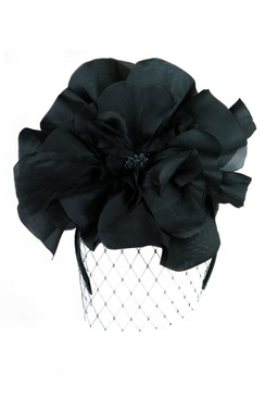 Black Silk Flower Headband with Veil by Morgan and Taylor
