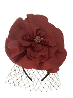 Marsala Silk Headband with Veil by Morgan and Taylor