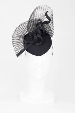 Fillies Collection Black Fan Pillbox Fascinator