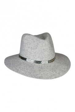 Grey Wool Felt Fedora with Silver Olive Leaf Trim by Morgan & Taylor
