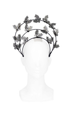 Butterfly Dancer - Black Butterfly Halo Headband by Rebecca Share Millinery