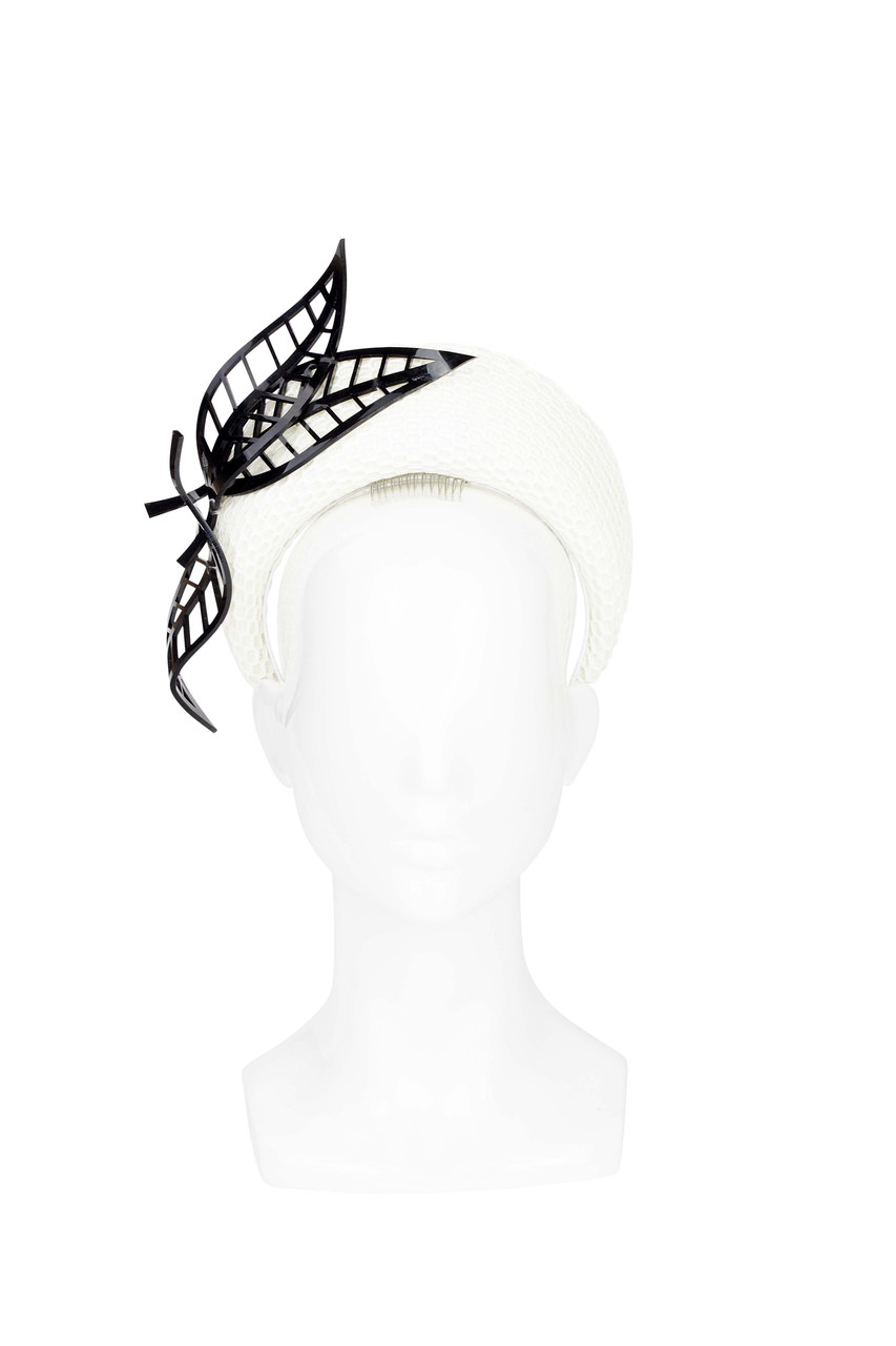 Rhea White Blocked Halo With Perspex Feathers By Rebecca Share I Tie Headband Black Image 1