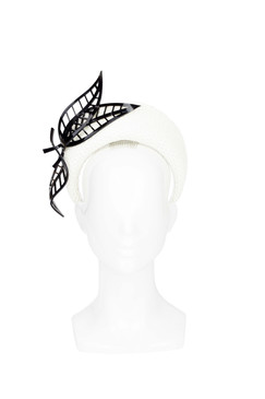 Rhea - White Blocked Halo with Perspex Feathers by Rebecca Share Millinery