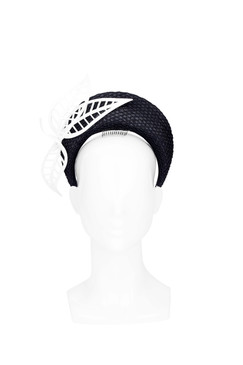 Rhea - Black Blocked Halo with Perspex Feathers by Rebecca Share Millinery