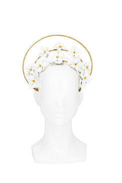 Celeste - White and Gold Floral Halo by Rebecca Share Millinery