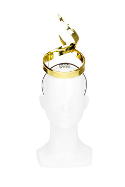Gold Leather Ribbon Twist Crown by Kim Wiebenga
