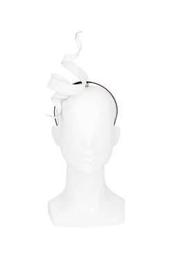White Leather Ribbon Twist Headpiece by Kim Wiebenga