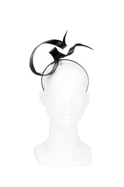 Black Leather Floating Ribbon Twist Headpiece by Kim Wiebenga
