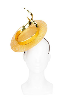 Amber Disc Headpiece with Gold Ribbon Twist by Kim Wiebenga