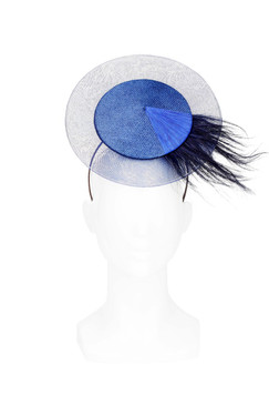 Navy Blue Disc Headpiece with Feather Burst by Kim Wiebenga