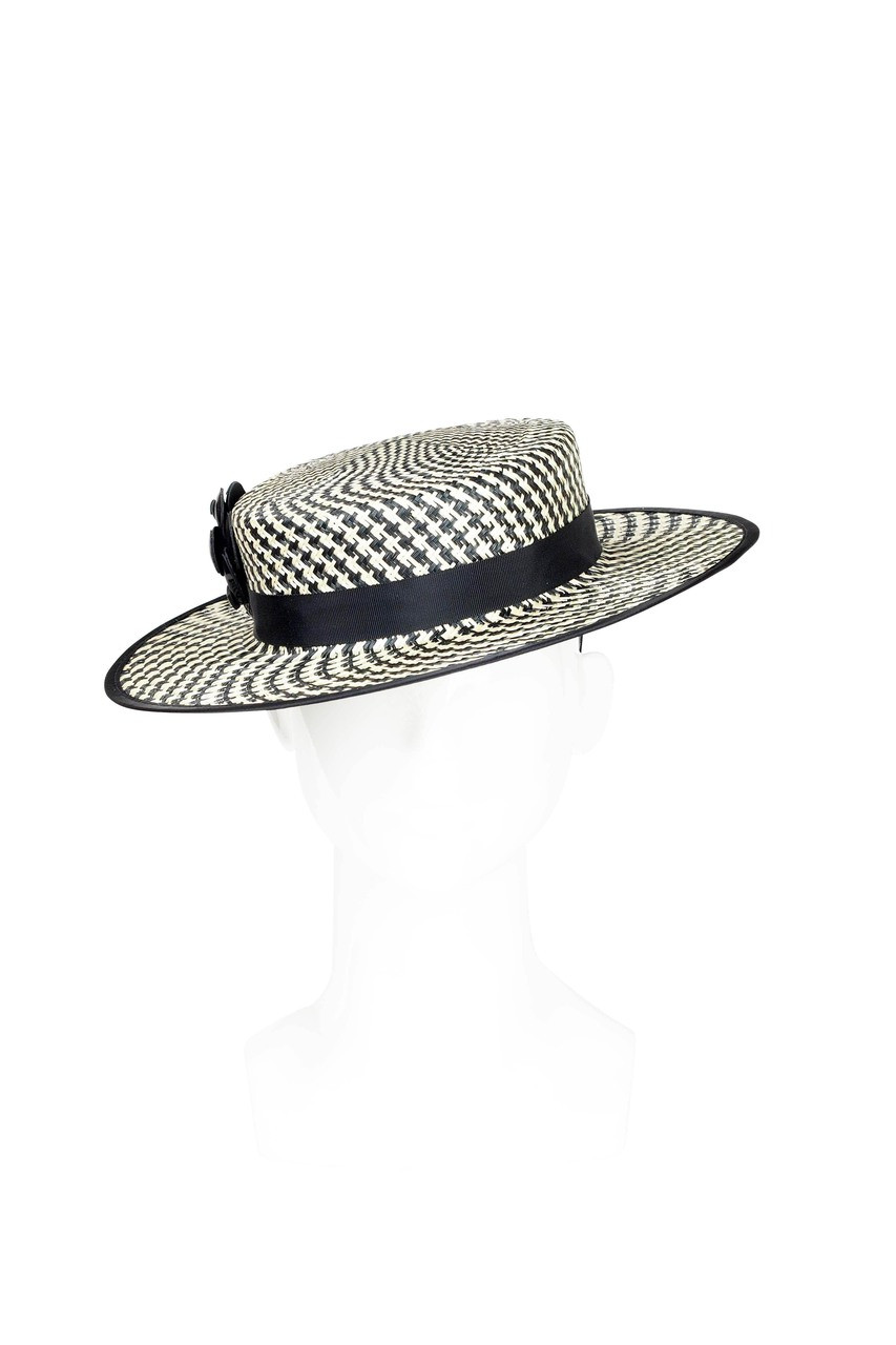 Black   White Straw Boater Hat by Angela Menz Millinery 3b5796ff5e6