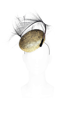 Harper - Gold Leather Button Beret with Ostrich Feather Twist by Angela Menz Millinery