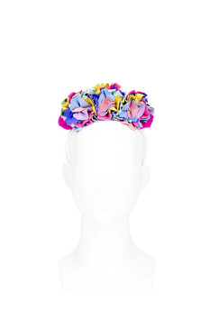 Gwen - Multi-coloured Pastel Suede Flower Headband with Pom Poms by Angela Menz Millinery