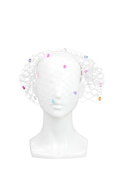 Luna - Multi-coloured Sequin Veil Headband by Angela Menz Millinery