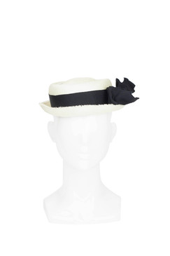 Jennifer - Parisisal Straw Boater Hat with Black Ribbon and White Pearls by Benoit Missolin Hats Millinery