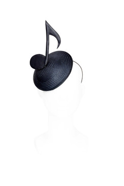 Lalala - Leather Musical Note Buntal Beret by Benoit Missolin Hats Millinery
