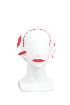 Kiss Me - Red Lips Headband with Veil by Benoit Missolin Hats Millinery