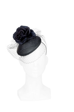 Tom Plum - Black Straw Beret with Flowers and Veil by Ford Millinery