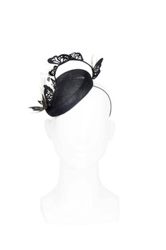 Butterfly Beret - Black Beret with Black and White Butterfly Twist by Suzy O'Rourke Millinery
