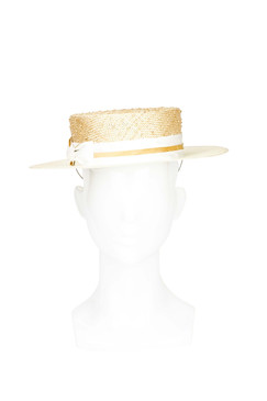 Charlie - Textured Medium Brim Straw Boater Hat by Lisa Tan