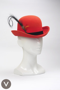 Vintage Mr John orange-red bowler hat with black feather trim