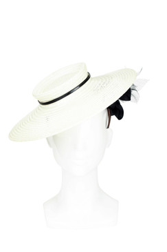 Tamika - Profile Hat with Flower Underside by Louise Macdonald Milliner