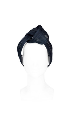 CANDICE - Black Abaca Turban Headband by Louise MacDonald Millinery