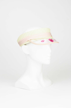 Brigitte - Blush Raffia Visor with Pink Acrylic Roses by Sophie Beale Millinery