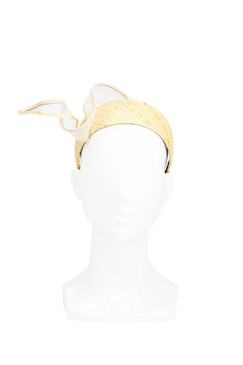 Blush Pink Leather and Straw Headband by Sophie Beale Millinery