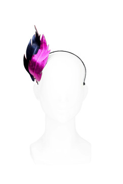 Amelia - Metallic Blue and Fuchsia Feather Headband by Lady of Leisure Millinery