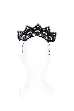 Brooklyn - Black Lace Crown Headband by Lady of Leisure Millinery