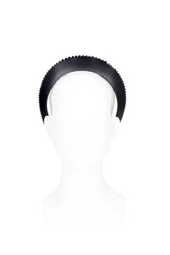 Diadem - Black Leather Halo with Swarovski Edge by The Season Hats