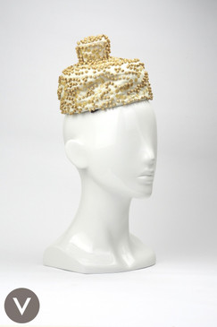 Vintage 1960s Saks 5th Avenue cocktail pillbox hat with wooden beads & wood-effect sequins