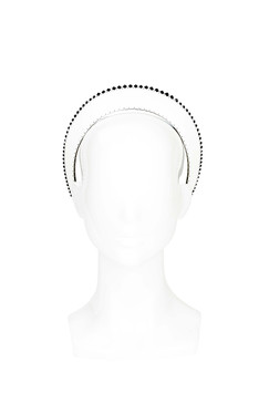 Diadem - White Leather Halo with Black Swarovski Edge by The Season Hats