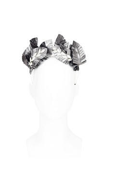 Silver Feather Leaf Ear Headband by Natalie Bikicki Millinery