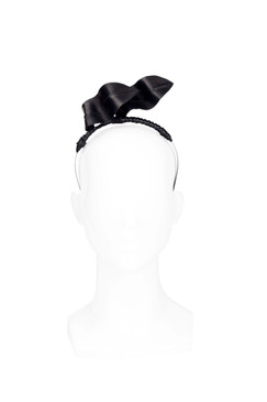 Black Sculptured Leather Wave Headband by Natalie Bikicki Millinery