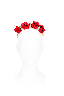 Red Rose Flower Crown Headband by Natalie Bikicki Millinery