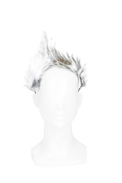 Minera - Silver Metallic Leather Headband by Serena Lindeman Millinery