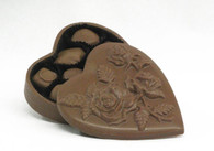 Chocolate heart box filled with assorted chocolates. 16 oz. all edible rose etched chocolate box.. Chocolate lovers dream!