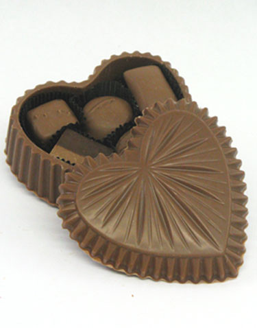 10 oz. Milk Chocolate edible heart filled with assorted Chocolates